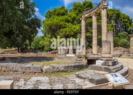 ancient ruins of the Philippeion, Ancient Olympia - Stock Photo