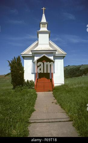 This historic wooden church built in 1867 is a landmark in the tiny rural town of Nicasio north of San Francisco - Stock Photo