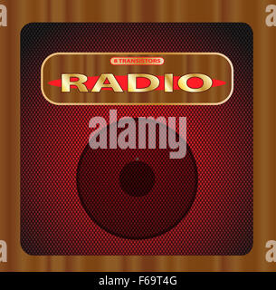 An old wooden transistor radio with grill and speaker - Stock Photo