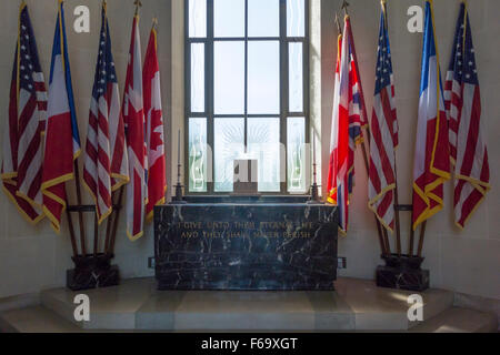 The altar in the chapel in the American Cemetery, Normandy, France - Stock Photo