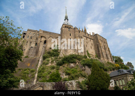 Mont Saint-Michel island commune at the mouth of the Cousenon river, near Avranches, Normandy France. - Stock Photo