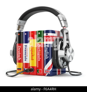 Learning languages online. Audiobooks concept. Books and headphones isolated on white. 3d - Stock Photo