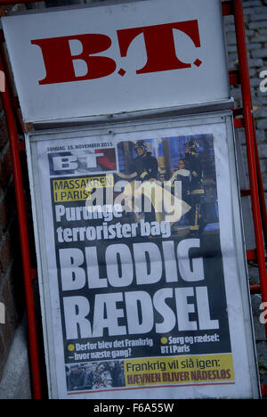 Copenhagen/Denmark/ _ 15th November  2015 _Danish newspaper front pages coverage of Terrorit ttacked in Paris France - Stock Photo