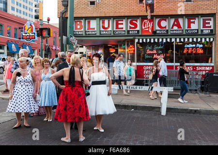 group of Rockabillies in Beale Street, Memphis, Tennessee, USA - Stock Photo