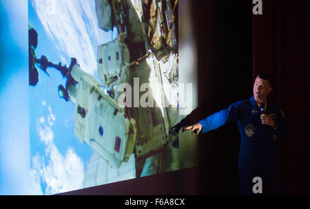 NASA Astronaut Reid Wiseman explains what it was like to conduct a spacewalk outside the International Space Station - Stock Photo