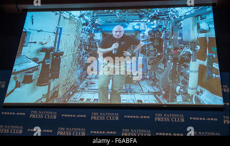 Astronaut Scott Kelly talks live from onboard the International Space Station during a discussion with Astronaut - Stock Photo