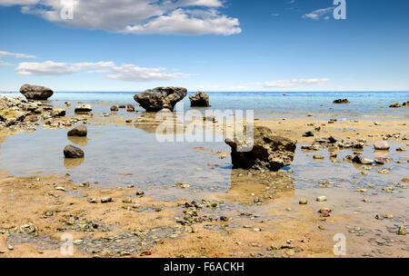 Low water on beach of the Red sea - Stock Photo