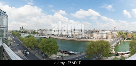 France, Paris, panoramic view from Institut du monde arabe - Stock Photo