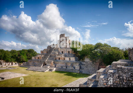 The Five Story Pyramid at the Mayan ruins of Edzna, Campeche, Mexico. - Stock Photo