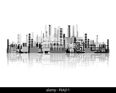 Vector illustration. Industry. Power plant. Factory. Industrial silhouettes. Engineering, construction. Gas and - Stock Photo