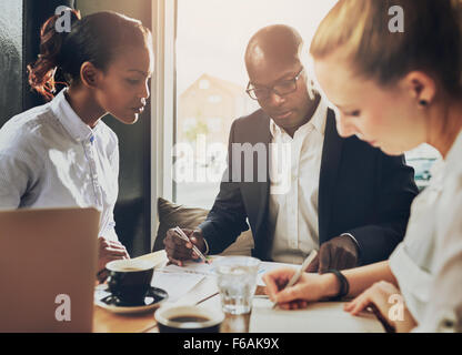 Serious group of business people working, multi ethnic group, business, entrepreneur, start up concept