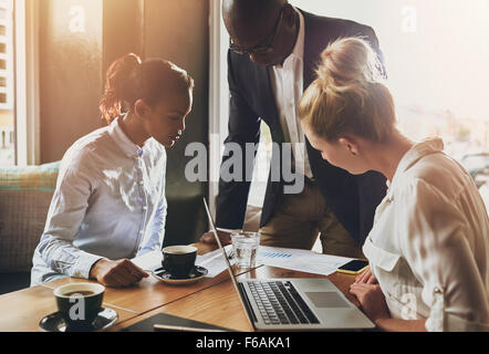 Group of business people, Entrepreneur concept, black business man explaining business plan - Stock Photo