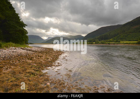 Loch Leven as seen from the lochside at North Ballachulish on a grey summers day,  Scottish Highlands - Stock Photo