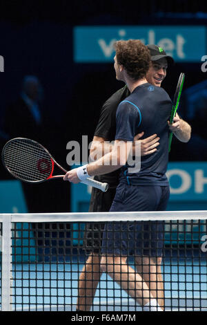 London, UK. 15th November, 2015. ATP Tennis Tour Finals. Day 1. Jamie Murray and John Peers celebrate the win in - Stock Photo