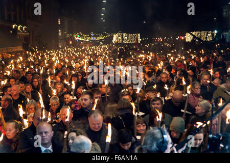 Copenhagen, Denmark. 15th November, 2015. Some 15.000 people participates in the Copenhagen sympathy rally with - Stock Photo