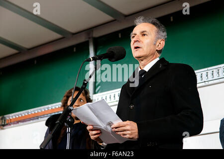 Copenhagen, Denmark. 15th November, 2015. French ambassador to Denmarrk, François Zimeray, speaks at this evenings - Stock Photo
