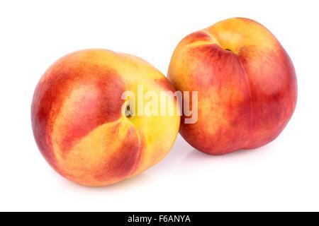 Peach Nectarine Isolated on White - Stock Photo