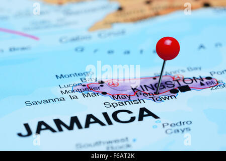 May Pen pinned on a map of Jamaica Stock Photo Royalty Free Image