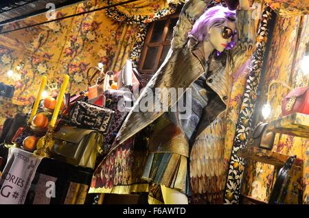 2015 Christmas window at Liberty, London, England, UK - Stock Photo