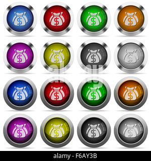 Set of money bags glossy web buttons. Arranged layer structure. - Stock Photo