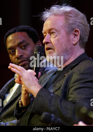 Director Ridley Scott speaks during a panel discussion about NASA's journey to Mars and the film 'The Martian,' - Stock Photo