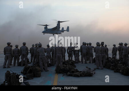 U.S. Marines with India Company, 3rd Battalion, 7th Marine Regiment, Special Purpose Marine Air Ground Task Force—Crisis - Stock Photo