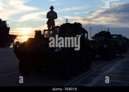 U.S. Marines with 4th Light Armored Reconnaissance Battalion participate in a 300 mile convoy from Rota, Spain to - Stock Photo