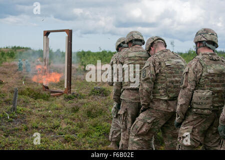 U.S. Soldiers with Delta Company, 2nd Battalion, 503rd Infantry Regiment, 173rd Airborne Brigade Combat Team stack - Stock Photo