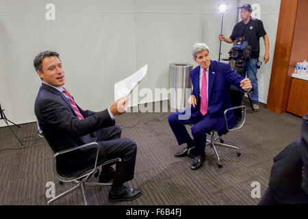 Secretary Kerry Prepares for Interview with 6ABC Philadelphia's O'Donnell Before Delivering Iran Deal Speech - Stock Photo
