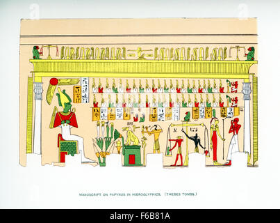 Pictured here is a manuscript drawn on papyrus of hieroglyphs and art found in an ancient Egyptian tomb in Thebes, - Stock Photo