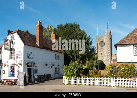 The White Horse Inn and St Mary's Church, Chilham Square, Chilham, Kent, England, United Kingdom