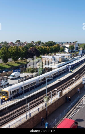 Train at platform, Gravesend Railway Station, Gravesend, Kent, England, United Kingdom - Stock Photo