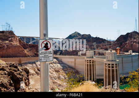 A sign for the Hoover Dam Security Zone - Stock Photo