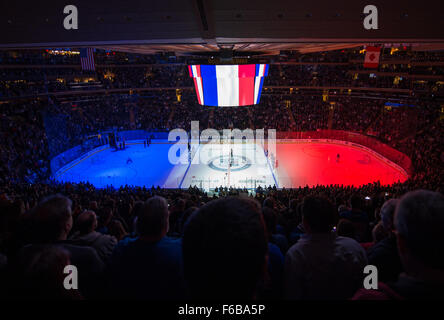 New York, NY, USA. 15th Nov, 2015. La Marseillaise is played prior to the 1st period of an NHL hockey game, Madison - Stock Photo