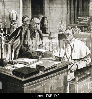 Pope Pius XI (1857-1939). Reigned form 1922-1939. Engraving. - Stock Photo
