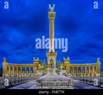Heroes's Square and Millennium Monument in Budapest - Stock Photo