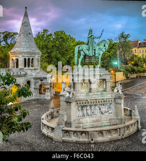 Hungary, Budapest, Fisherman's Bastion, statue of Saint Stephen, dusk - Stock Photo