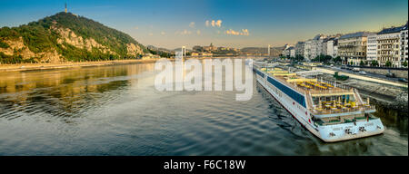 Budapest is on the Danube River. The city is divided into Buda and Pest districts. - Stock Photo