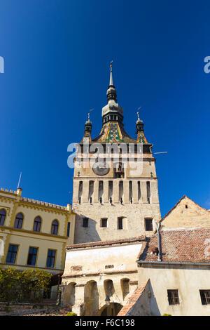 Image of the Clock Tower in Sighisoara, Transylvania Romania - Stock Photo