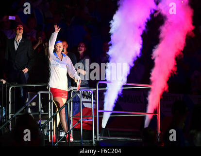 Prague, Czech Republic. 14th Nov, 2015. Czech tennis player Petra Kvitova comes to the ceremonial start of the Fed - Stock Photo