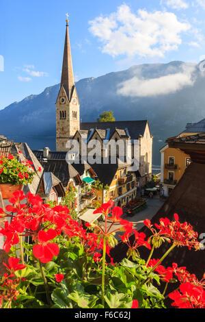 Hallstatt, in upper Austria is a village in the Salzkammergut, a region in Austria. - Stock Photo