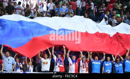 Prague, Czech Republic. 15th Nov, 2015. Fans of Czech tennis team during the Fed Cup tennis final match between - Stock Photo
