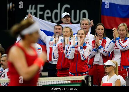 Prague, Czech Republic. 15th Nov, 2015. Russia tennis team reacts during doubles Fed Cup tennis final match between - Stock Photo