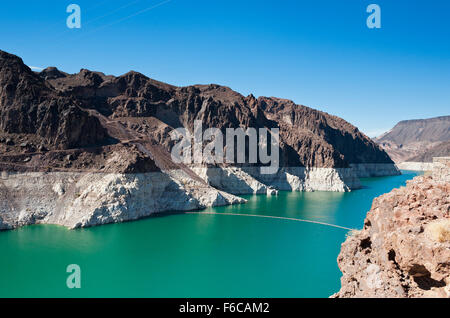 Lake Mead water level very low at the Hoover Dam - Stock Photo