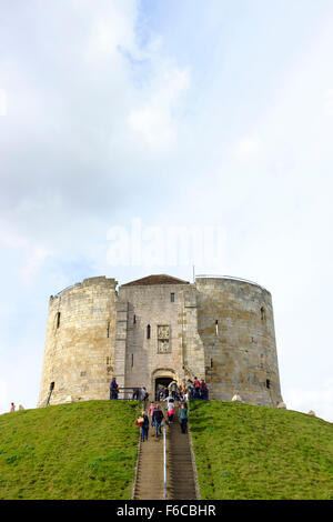 Clifford's Tower, the keep of York Castle, York, UK - Stock Photo