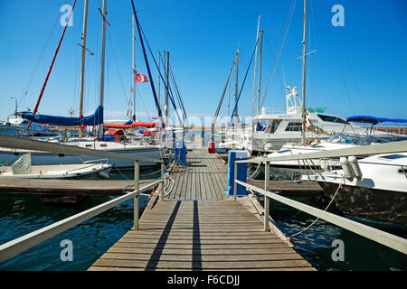 Chania, Crete Island, Greece - June 12, 2013: Small harbor yacht docking platform - Stock Photo
