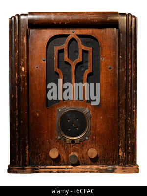 Vintage radio isolated over white background - With clipping path - Stock Photo