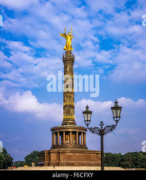 'Siegessäule' Victory column with Victoria golden statue, Berlin, Germany - Stock Photo