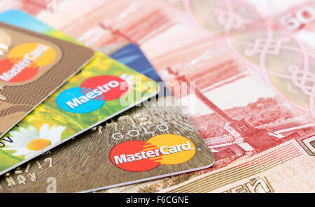 VISA and Mastercard Debit Card with russian rubles - Stock Photo