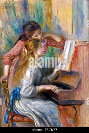 Young Girls at the Piano - Jeunes filles au piano, c.1892 Pierre Auguste Renoir 1841-1919 French France - Stock Photo
